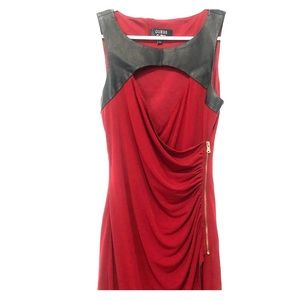 Red with Leather Accent Guess Dress